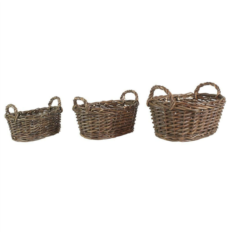 HomArt Willow Baskets Oval - Set of 3 - Natural - Small