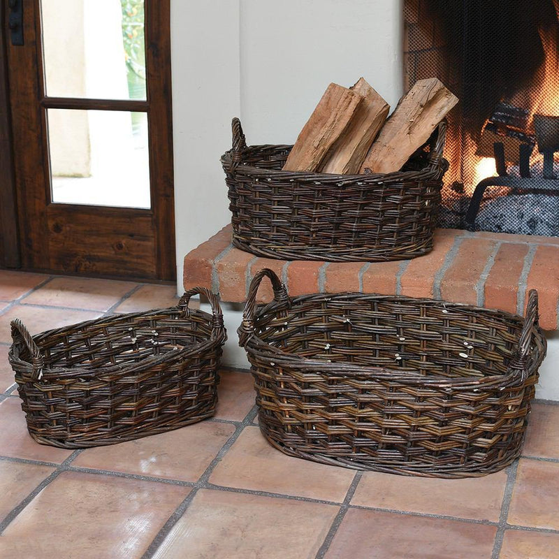 HomArt Willow Baskets Oval - Set of 6 - Natural