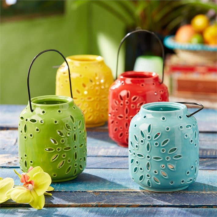 Two's Company Casa Amistad Floral Lantern Set of 4