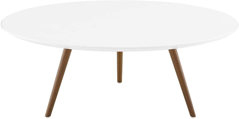 "Modway Lippa 40"" Round Wood Top Coffee Table with Tripod Base in Walnut White"