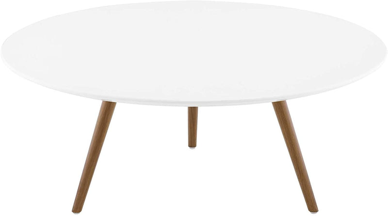 "Modway Lippa 47"" Round Wood Top Coffee Table with Tripod Base in Walnut White"