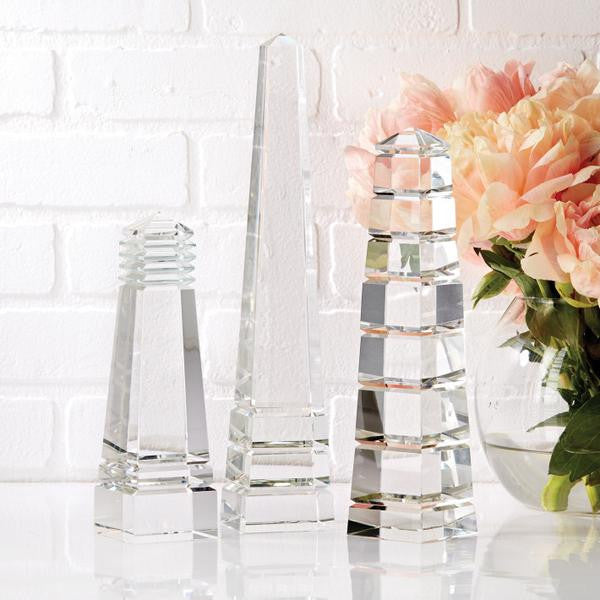 Two's Company Barton S/3 Crystal Obelisks Assorted