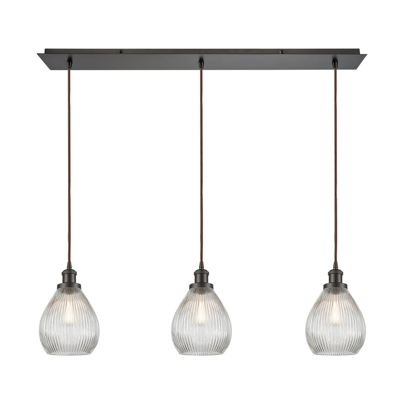 Jackson 3-Light Linear Mini Pendant Fixture in Oil Rubbed Bronze with Clear Ribbed Glass ELK Lighting 56582/3LP
