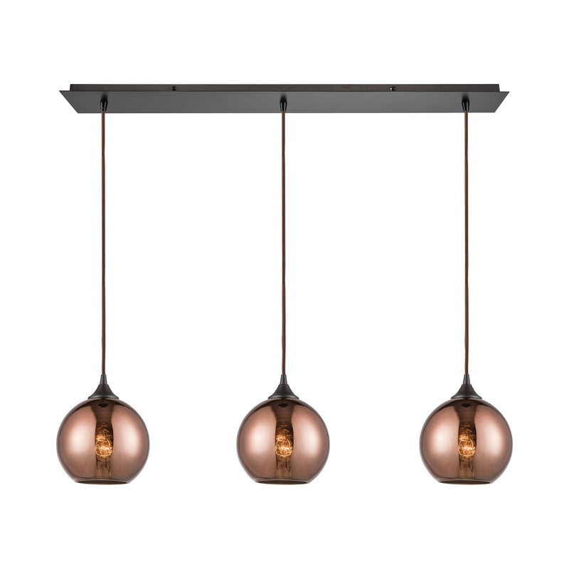 Copperhead 3-Light Linear Mini Pendant Fixture in Oil Rubbed Bronze with Copper-plated Glass ELK Lighting 56583/3LP