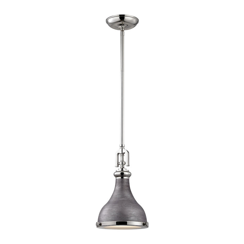 Rutherford 1-Light Mini Pendant in Polished Nickel and Weathered Zinc with Metal Shade ELK Lighting