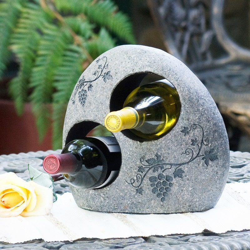 Garden Age Supply Natural Stone Wine Caddy Set of 2