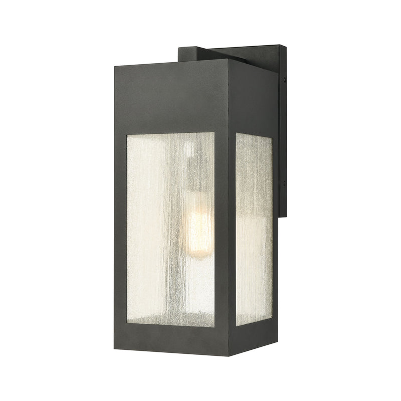 Angus 1-Light Outdoor Wall Lamps in Charcoal with Seedy Glass Enclosure by ELK Lighting