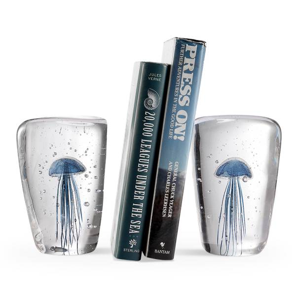 AG Blue Jellyfish Wedge Bookends By SPI Home
