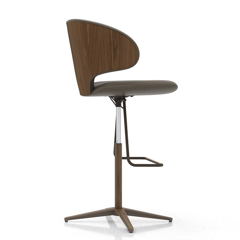 Modloft Harper Barstool II in Deep Taupe Leather and Walnut