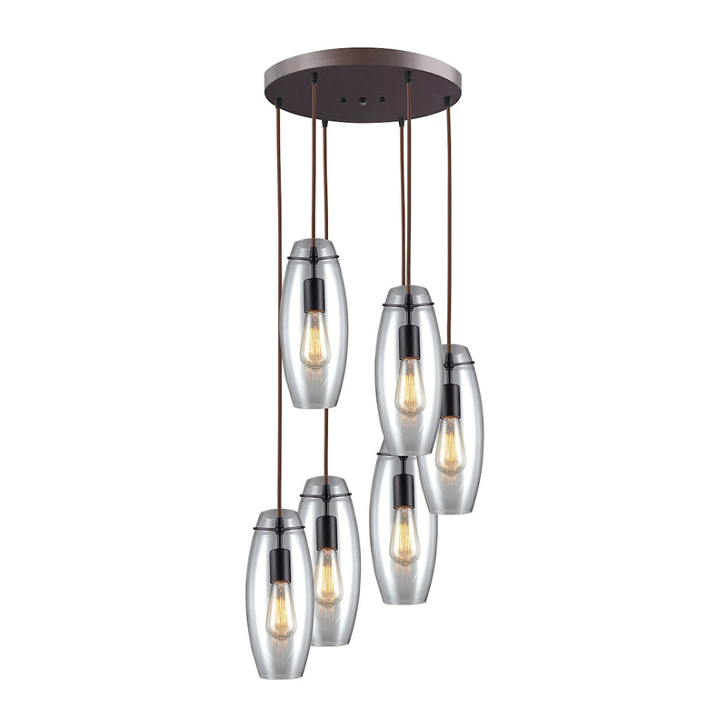 Menlow Park 6-Light Round Pendant Fixture in Oil Rubbed Bronze with Smoked Glass ELK Lighting