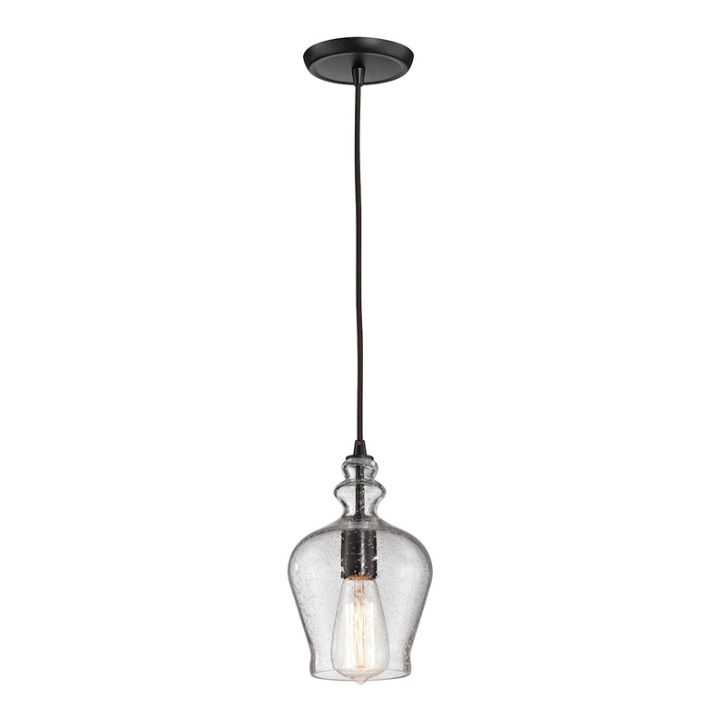 Menlow Park 1-Light Mini Pendant in Oil Rubbed Bronze with Clear Seeded Glass ELK Lighting