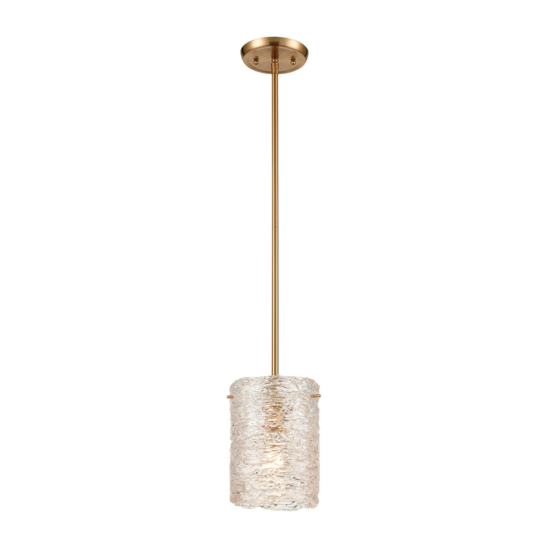 Chiseled Ice 1-Light Mini Pendant in Satin Brass with Clear Heavily Textured Glass by ELK Lighting