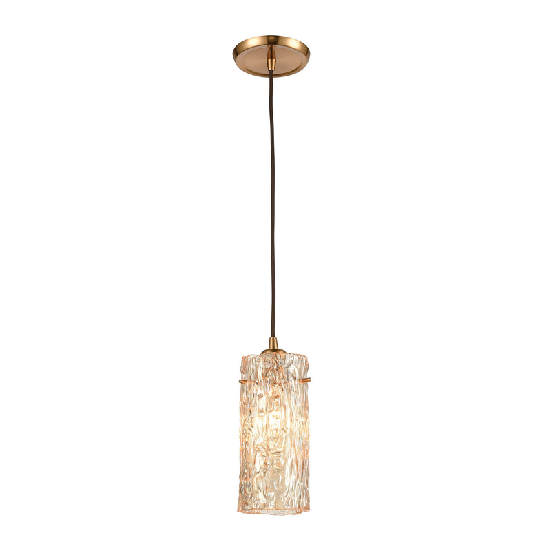 Roubaix 1-Light Mini Pendant with Heavily Textured Amber Glass by ELK Lighting
