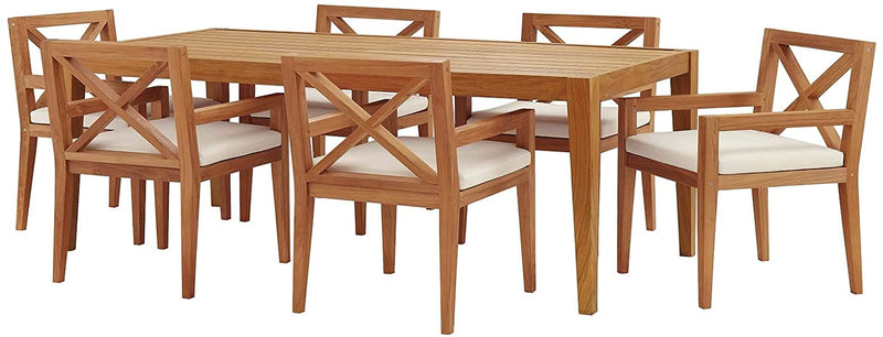 Modway Northlake 7 Piece Outdoor Patio Premium Grade A Teak Wood Set in Natural White