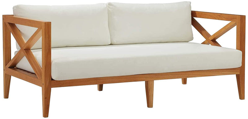 Modway Northlake Outdoor Patio Teak Wood Sofa in Natural White