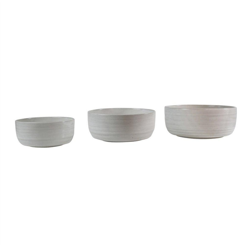HomArt Liam Ceramic Serving Bowls - Set of 3 - White Glaze