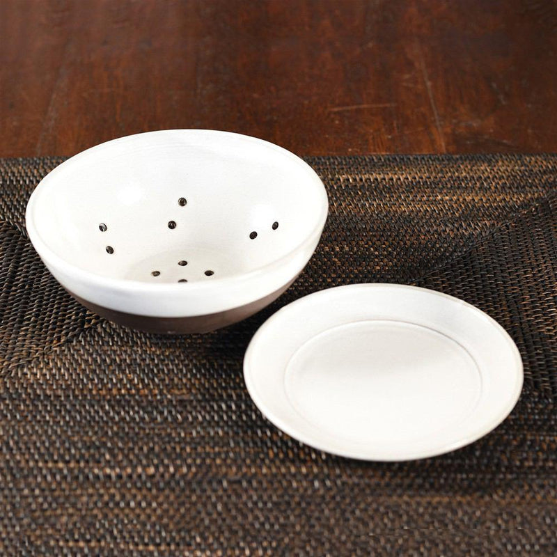 HomArt Liam Ceramic Berry Bowl & Saucer - Partial Glaze - Set of 4