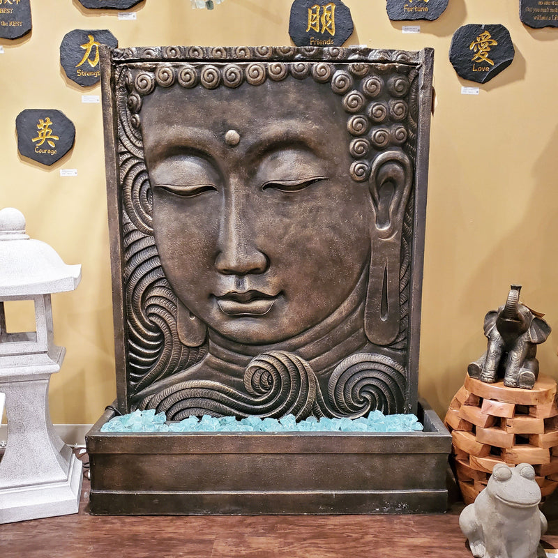 Buddha Face Panel Water Fountain by Garden Age Supply