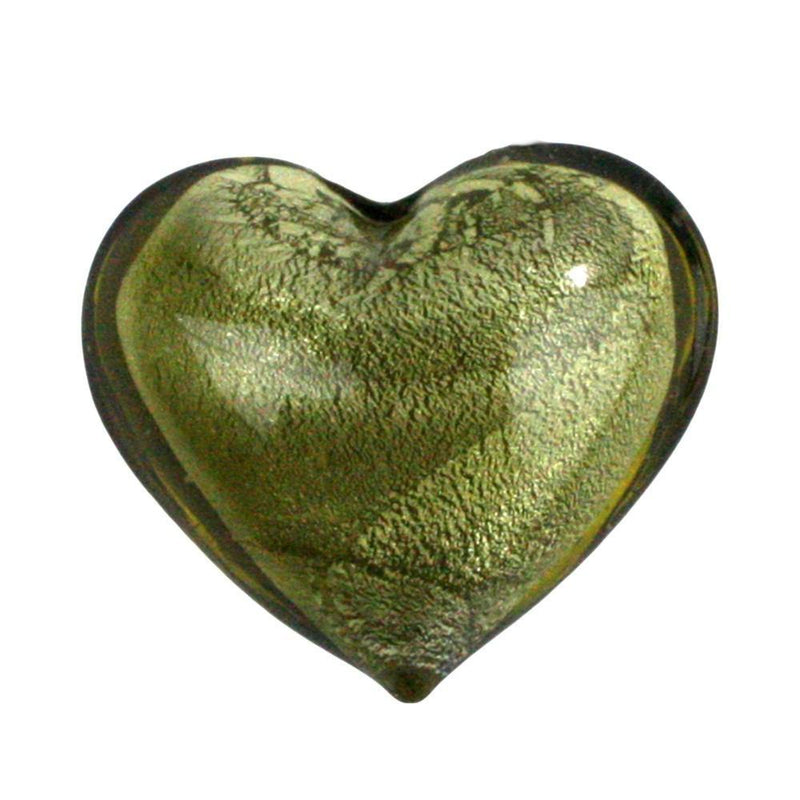 HomArt Venetian Glass Heart - Olive/Gold