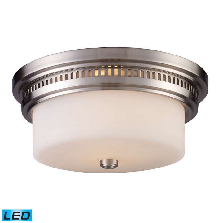 Chadwick 2-Light Flush Mount in Satin Nickel with White Glass - Includes LED Bulbs ELK Lighting