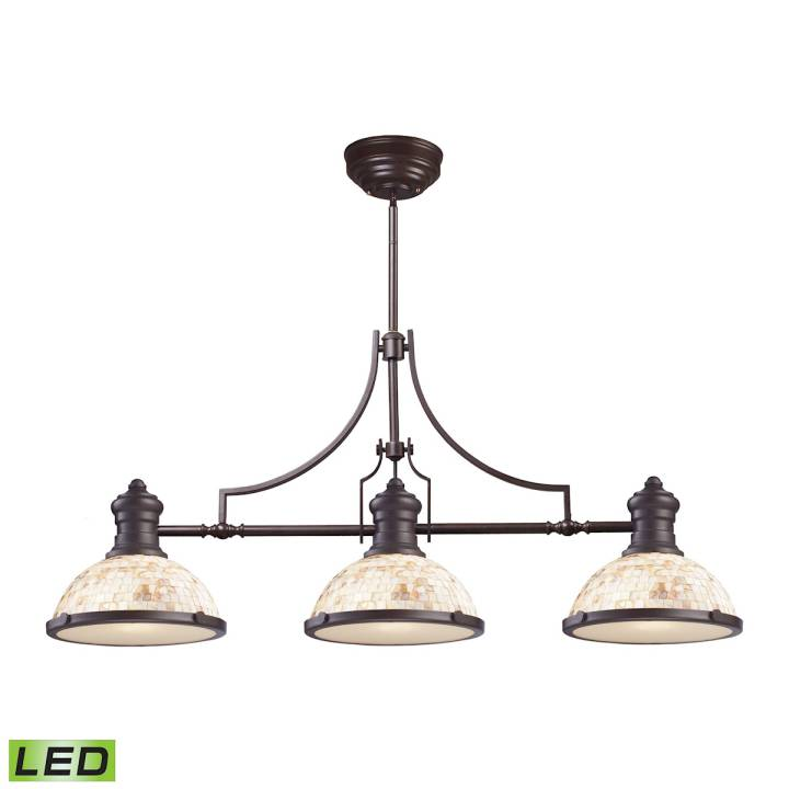 Chadwick 3-Light Island Light in Oiled Bronze with Cappa Shell Shade - Includes LED Bulbs ELK Lighting