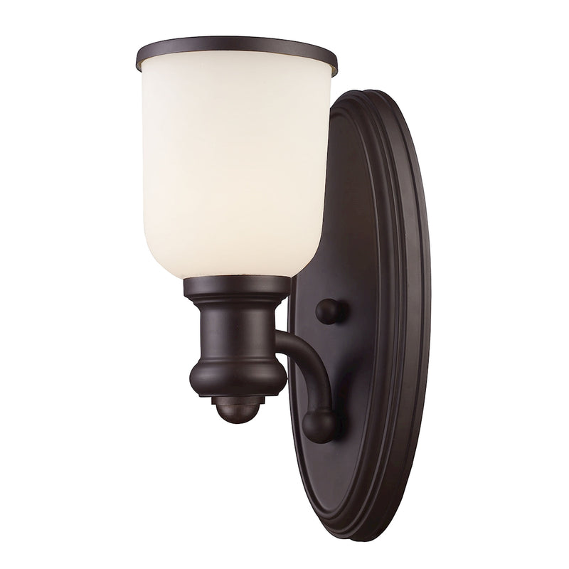 Brooksdale 1-Light Wall Lamp in Oiled Bronze with White Glass ELK Lighting
