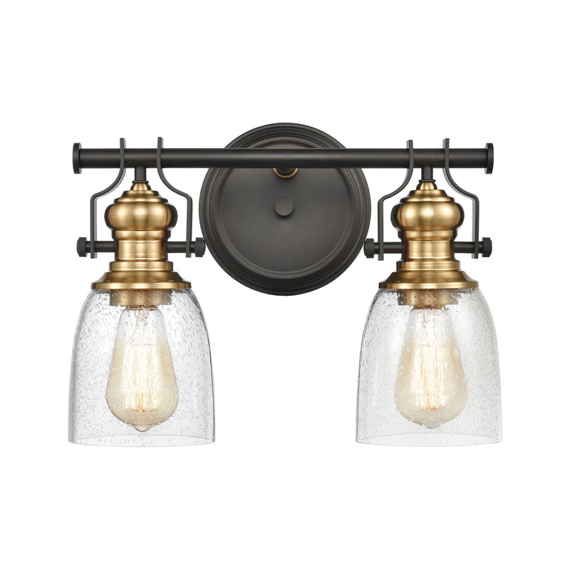 Chadwick Vanity Light in Oil Rubbed Bronze and Satin Brass with Seedy Glass by ELK Lighting