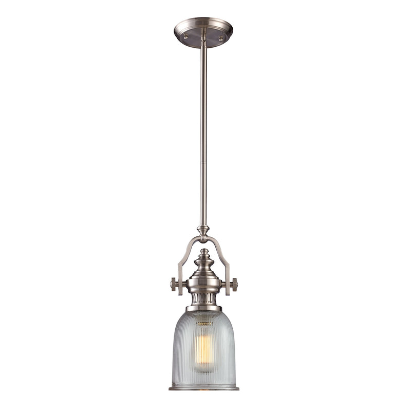 Chadwick 1-Light Mini Pendant in Satin Nickel with Clear Ribbed Glass ELK Lighting