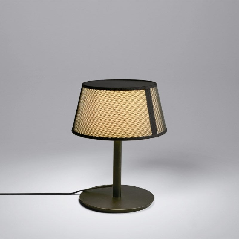 Oggrtti Lilly Side Table Lamp - Black + Black Net Fabric