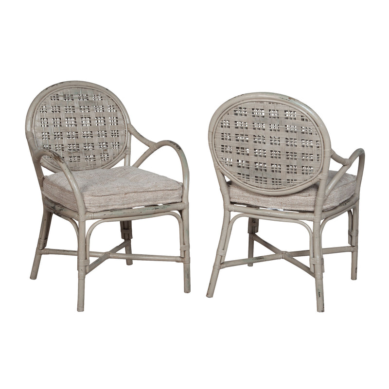 Guildmaster Farmhouse Rattan Arm Chair - Set Of 2