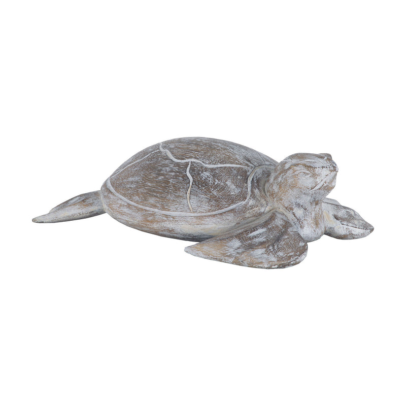 Sterling Industries Galapagos Turtle White Washed Albasia Wood