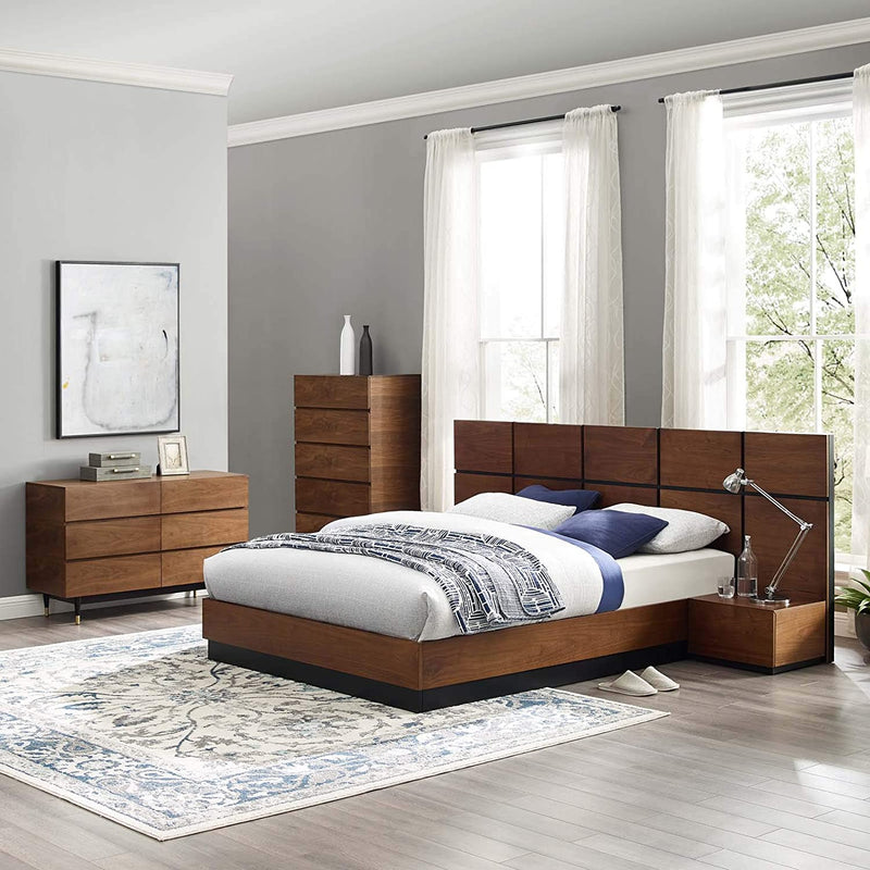Modway Caima 5-Piece Bedroom Set in Walnut-MOD-6300-WAL