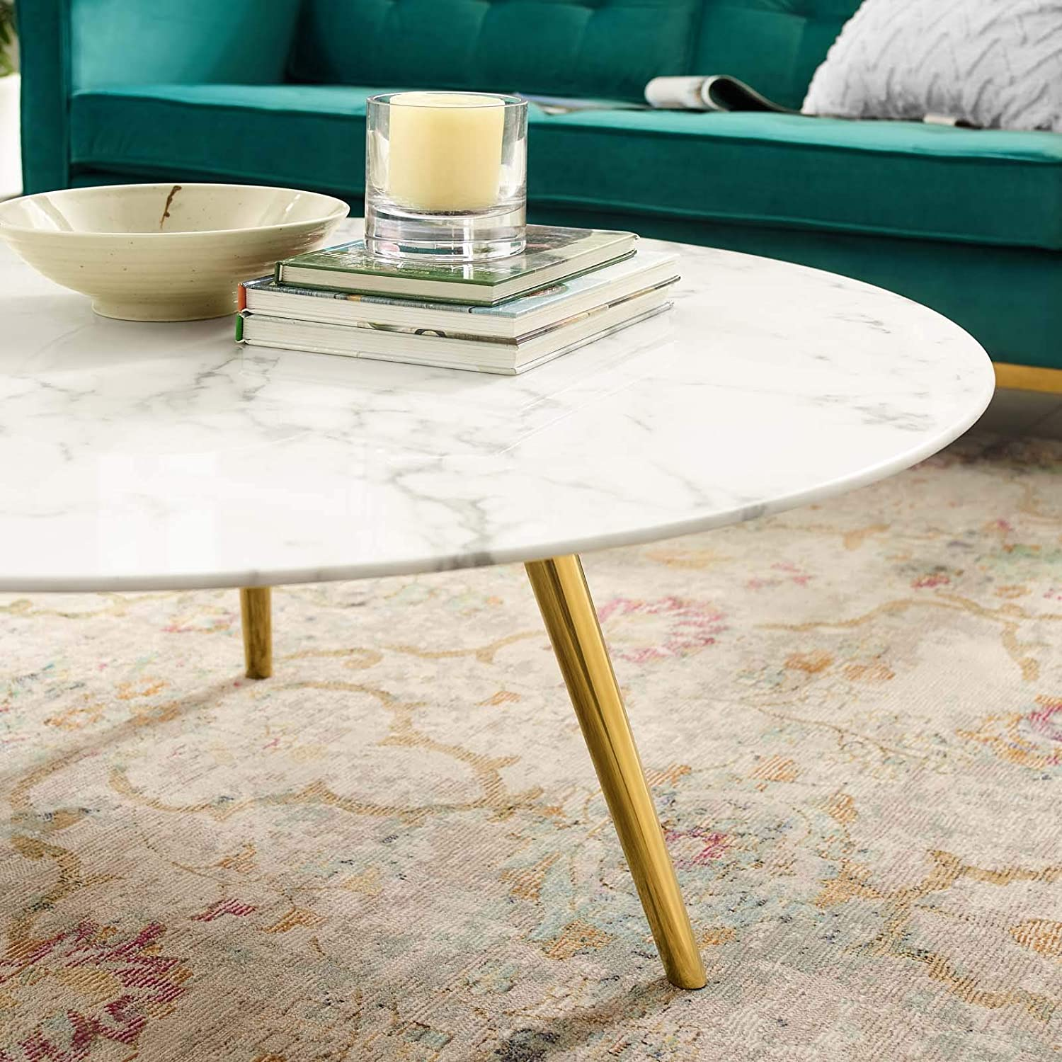 Modway Lippa 40 Round Artificial Marble Coffee Table With Tripod Base Modish Store