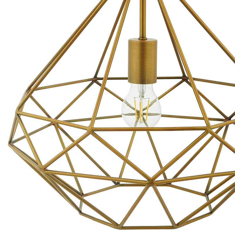 Modway Rarity Diamond-Shaped Brass Pendant Light