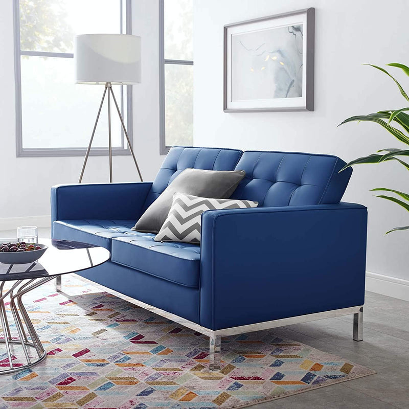 Modway Loft Tufted Upholstered Faux Leather Loveseat
