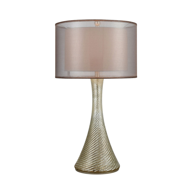 Dorothy Table Lamp in Antique Mercury Glass with Bronze Organza Shade and Gold Inner Shade Steinworld