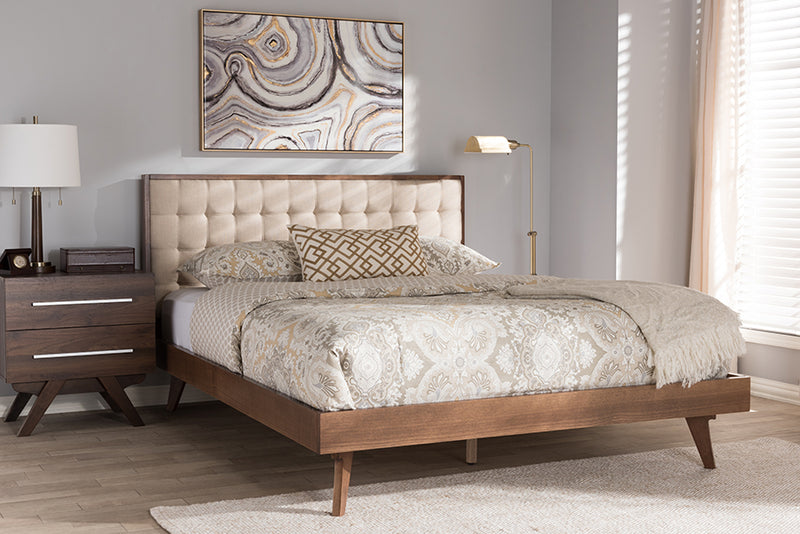 Baxton Studio Soloman Mid-Century Modern Light Beige Fabric and Walnut Brown Finished Wood King Size Platform Bed