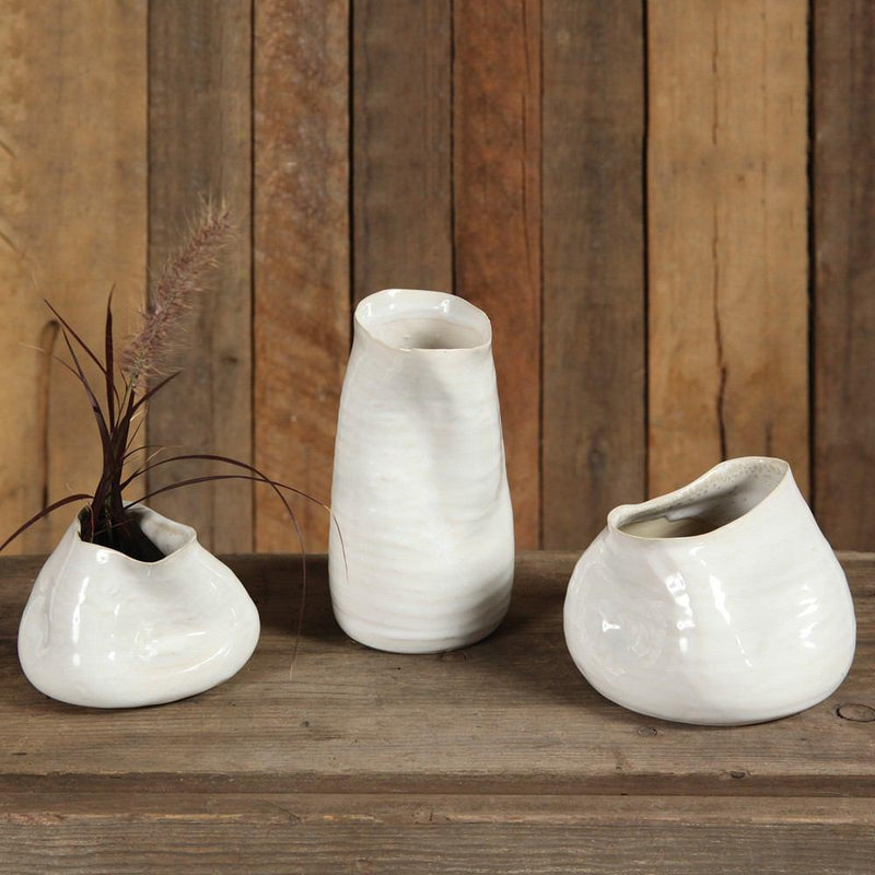 HomArt Canyon Ceramic Vase - Fancy White - Set of 4