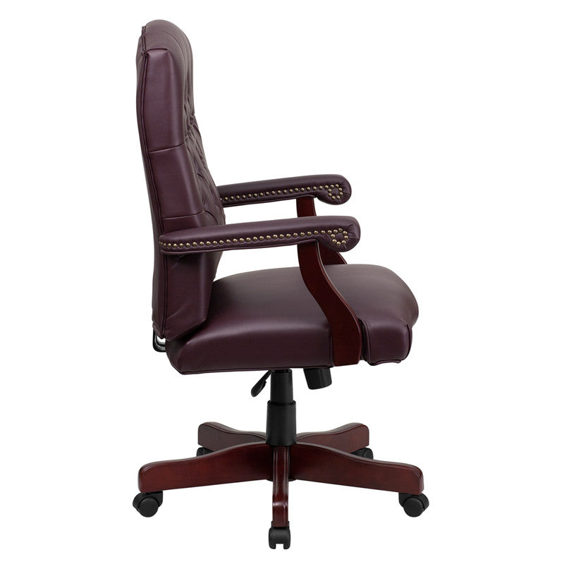 Flash Furniture Martha Washington Burgundy Leather Executive Swivel Office Chair