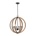 ELK Lighting's Barrow Chandelier in Birchwood and Matte Black