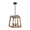 Barrow Chandelier in Birchwood and Matte Black by ELK Lighting