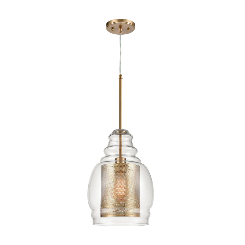 Herndon 1-Light Pendant with Clear Glass and Antique Gold/Silver Perforated Metal Cylinder by ELK Lighting