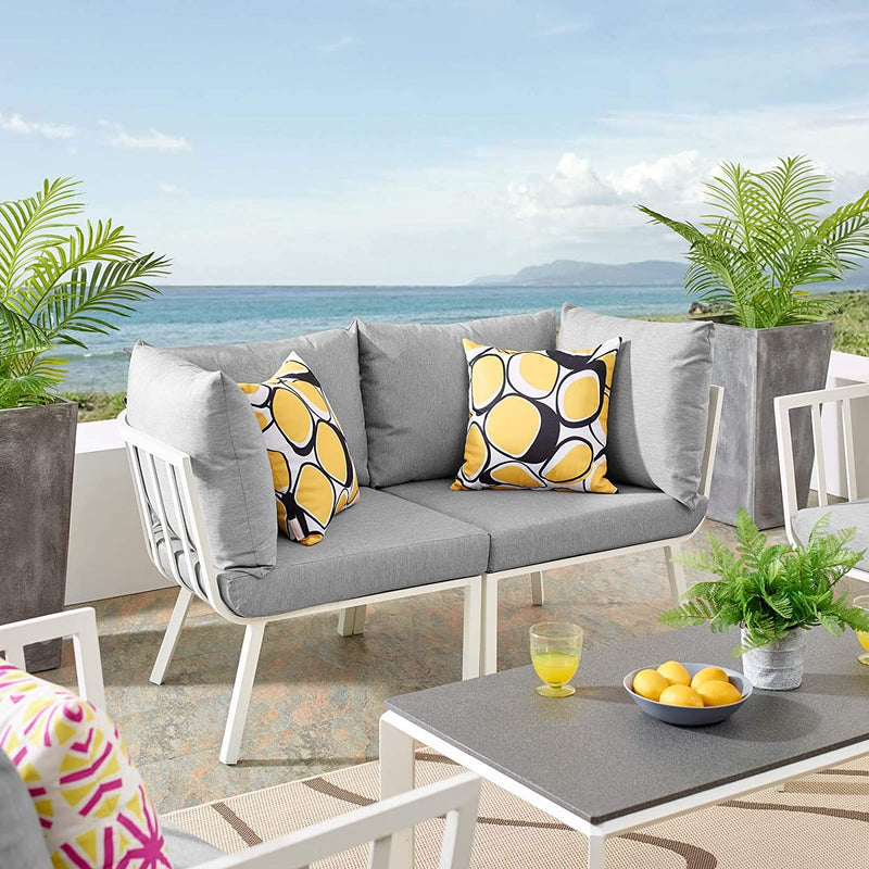 Modway Riverside 2 Piece Outdoor Patio Aluminum Sectional Sofa Set