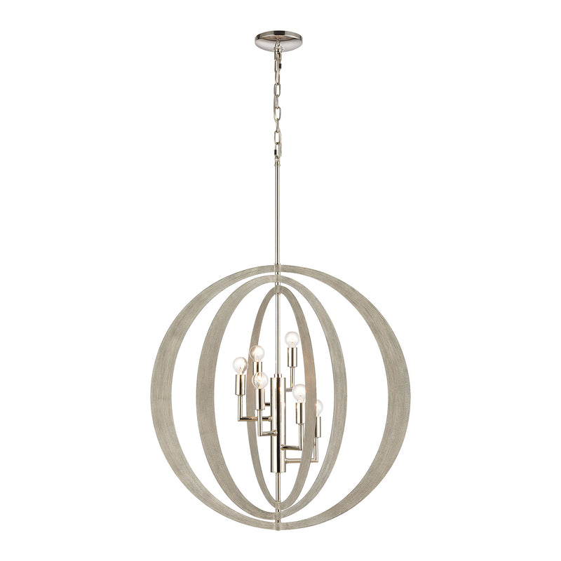 Retro Rings 6-Light chandelier in Sandy Beechwood / Polished Nickel ELK Lighting