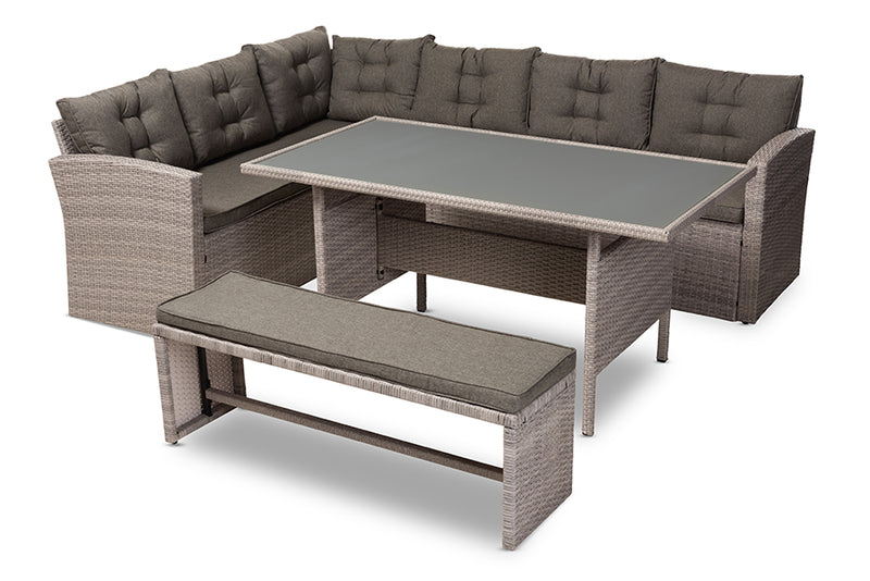 Baxton Studio Eneas Modern and Contemporary Dark Grey Fabric Upholstered and Grey Rattan 3-Piece Outdoor Patio Lounge Corner Sofa Set