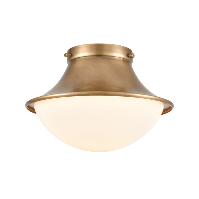 Matterhorn 1-Light Flush Mount in Natural Brass with Opal White Glass by ELK Lighting