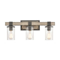 Crenshaw Vanity Light in Anvil Iron and Distressed Antique Graywood with Seedy Glass by ELK Lighting