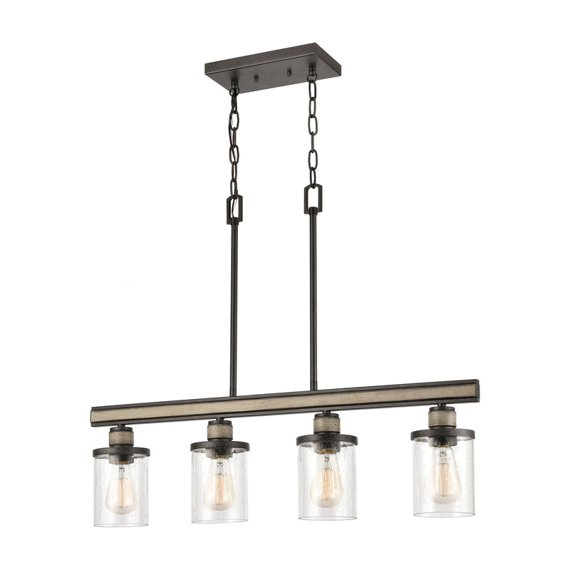 Beaufort 4-Light Island Light in Anvil Iron and Distressed Antique Graywood with Seedy Glass by ELK Lighting