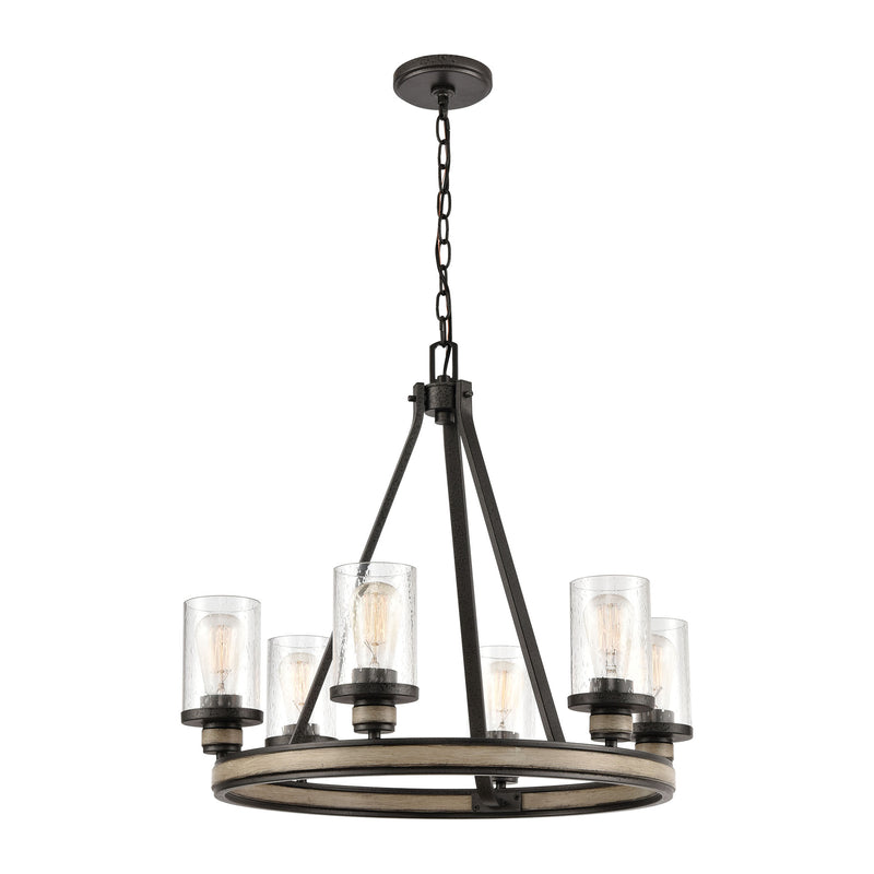 Beaufort 6-Light Chandelier in Anvil Iron and Distressed Antique Graywood with Seedy Glass by ELK Lighting