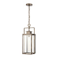 Crested Butte 1-Light Outdoor Pendant in Antique Brushed Aluminum with Clear Glass Enclosure by ELK Lighting